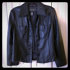 Black Leather Jacket by Banana Republic 100% genuine black leather jacket from Banana Republic. Only worn Once!  This is the buttery soft leather that feels and looks so great! It has a tailored look and wears so well...tres' chic!  Like new, perfect condition, no rips, stains or tears! Banana Republic Jackets & Coats Blazers