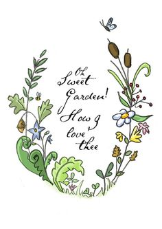 ACEO Gardening Illustration Mini Print Oh Sweet by designbirdie, €3.50