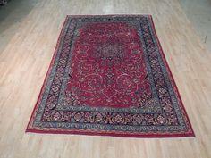 Red Isfahan Handmade 6' x 9' Semi-Antique Rug Antique Design Iran Persian Carpet