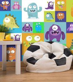 """Ꙭ Ꙭ Ꙭ Tapete für Kinder """"Lovely Monsters II"""". Motive der Tapete: Monster, lustig, bunt, graphisches Motiv, Street Art. Schöne Deko-Idee für buntes Kinderzimmer - Lustige liebe Monster Ꙭ Ꙭ Ꙭ"""