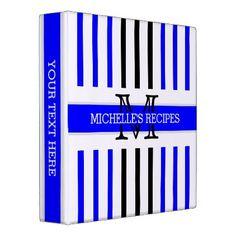 Black and Blue Stripes Modern Monogram Binder - professional gifts custom personal diy