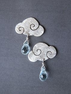 "Earrings ""SWEET CLOUDS"" sterling silver clouds with blue topaz rain drops Clay Jewelry, Metal Jewelry, Jewelry Art, Jewelry Design, Silver Jewelry, Jewelry Accessories, Ruby Earrings, Silver Earrings, Argent Sterling"