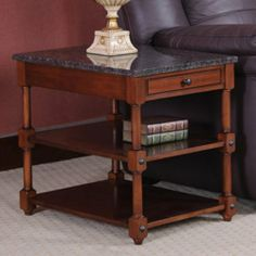 Stone Terrace End Table by Leick Furniture. $259.00. 1 solid wood drawer and 2 tiered display shelves. Features full extension ball bearing guides. Dimensions: 20W x 26D x 24H inches. Made of hardwood solids and veneers with granite top. Russet finish. 10707 Features: -Solid granite stone tops.-Solid wood inset drawer boxes.-Turned column legs.-Tiered display shelves. Color/Finish: -Russet finish.-Gun metal gray accent hardware. Assembly Instructions: -Assembly re...