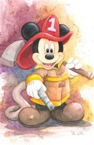 DISNEY WATERCOLOR FIREMAN MICKEY MOUSE