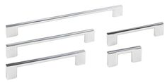 The Polished Chrome Finish of the Sutton Series Decorative Cabinet Hardware Collection from Jeffrey Alexander includes 5 sizes of cabinet & drawer pulls. This contemporary series features a square bar design with large mounting feet.