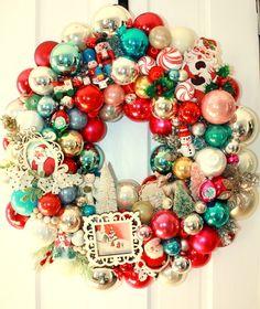 BLACK FRIDAY SALE Shiny brite wreath, Vintage ornament wreath, glass ball wreath, Kitschy Christmas decor, Santa, snowman, bottle brush tree by thepaisleymoon on Etsy https://www.etsy.com/listing/257625882/black-friday-sale-shiny-brite-wreath