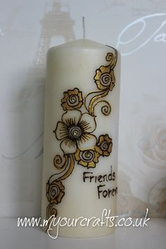 Henna Candle. Decorated fragnance free church candles. Available with hand drawn exotic henna, mehndi,Henna tatoo, islamic or arabic art and/or tribal patterns and finished with clear rhinestones. Unique gifts for loved ones or decor for the home. Available in large, medium or small sizes.Order at www.myourcrafts.co.uk