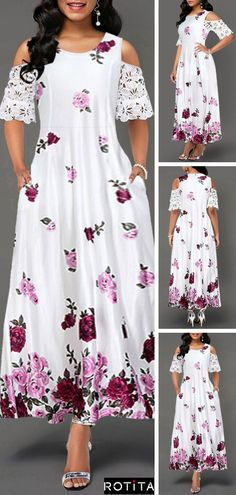 Half Sleeve Cold Shoulder Lace Panel Dress - New Site Elegant Dresses, Pretty Dresses, Sexy Dresses, Beautiful Dresses, Summer Dresses, Floral Dresses, Party Dress Sale, Club Party Dresses, Retro Mode