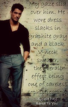"Photo of David Gandy - with great quote from ""Bared to You"" (part of the ""Crossfire"" series, by Sylvia Day ) Gideon Cross, Black V Neck Sweater, Crossfire Series, Jamie Mcguire, Sylvia Day, Day Book, Book Boyfriends, David Gandy, Romance Novels"