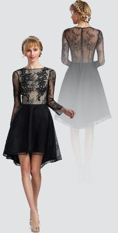 New arrival long sleeves lace  high-low cocktail dress party dress