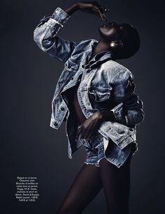 радикал денима: ataui Денг и Алима Fofana от vanmossevelde + п для гламурного франция июня 2013 | визуальный оптимизм; моды редакционных, шоу, кампании и многое другое!