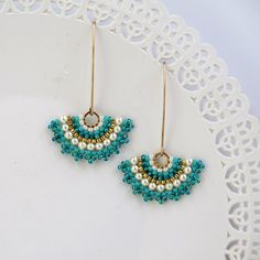 Fan earrings, Long turquoise earring, Pearl & turquoise earring, Gold turquoise earring. turquoise dangle earrings, swarovski crystal pearls