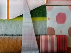 SCRAPS offcuts from coat making from our own handwoven fabrics! Hand Weaving, Scrap, Fabrics, Quilts, Blanket, Studio, How To Make, Design, Tejidos