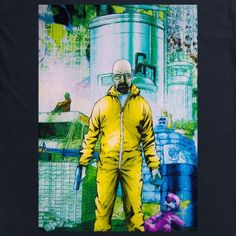 A design showing Bryan Cranston's drug-lord character Walter White in his infamous yellow hazmat suit. This is an official Breaking Bad product.