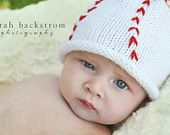 Hand Knit Baseball Baby Hat,Take Me Out to the Ball Game Cotton Baby Baseball Hat. $25.00, via Etsy.