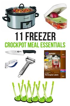 11 Freezer Crockpot Meal Essentials.  I love all of these.