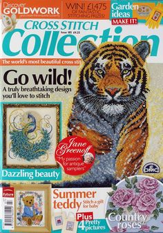 Cross Stitch Collection 185 2010 Go Wild, teddy, roses, peacock, baby sampler, new home cards
