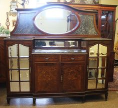Unique & Rare Mirrored Marble Top Mirror Back Walnut French Sideboard Server