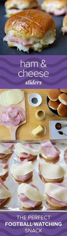 Looking for an easy, crowd-pleasing snack for football night or your next get-together?YES YOU MAKE THE BEST OH YOU DO KS. These sliders are completely addictive, thanks to the buttery, tangy, slightly sweet sauce drizzled on top. Appetizers For Party, Appetizer Recipes, Cheap Party Snacks, Girls Night Appetizers, Party Food Easy Cheap, Cheap Easy Meals, Lunch Recipes, Ham Cheese Sliders, Ham And Cheese Sliders Hawaiian