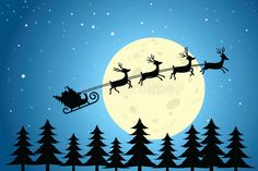 Download Santa And Reindeer Flying Through The Night Sky Stock Vector - Image: 27528876