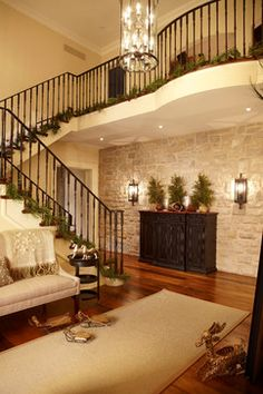 The English Manor Stone Accent Walls, Stone Walls, Huge Mansions, Family Room Walls, Stone Stairs, Home Decoracion, Sconce Lighting, Wall Lighting, English Manor