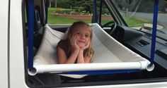Well isn't that clever? Fellow camper Keif Hunniford figured out a simple way to add a children's bed in his Volkswagen Vanagon. He made it from $10 worth of canvas and some PVC pipe, and was able to design it so that it was completely out of the way when not in use. He reports ...