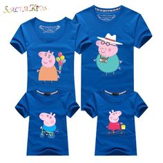 1Pc 2017New Family Matching Outfits Summer T-shirt Clothes Family Look Cotton cartoon Family 16Colors Mother Father Kids Qz030