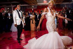 Pantora Bride Rachel her custom mermaid gown. Bring on the bling!