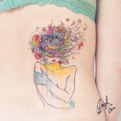 Watercolor Tattoo www.tatteo.com #ForestNinph #candelariacarballo #poetic #lovenature #spring #watercolortattoo #TAOT #tattooersubmission #inkedup #heytattoo #inkstinctsubmission #cutetattoos #inkgirl #tattoolife