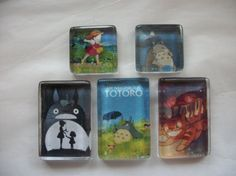 5 My Neighbor Totoro Glass Magnet Set One of a Kind by BadCatCraft