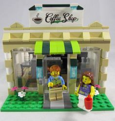 Custom made Lego coffee shop. LEGO fans have to love it!  I expect it is even more popular because of the coffee scene in the new Lego Movie. #lego #coffeeshops