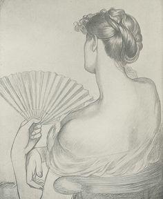 Lady With A Fan Drawing by Dante Gabriel Rossetti.