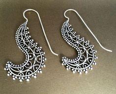 Silver Spiral earrings,Bohemian Jewelry,Filigree Silver long hooks,BOHO EARRINGS,Tribal minimalist earrings,Indian by AHAAVI on Etsy