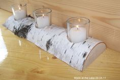 Rustic Votive Candle Holders | Birch Half Log Votive Candle Holder - Shabby Chic, Rustic Decor ...
