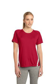 Sport-Tek® - Ladies Colorblock Competitor™ Tee. We took our popular Competitor Tee and added some attitude with colorblocking on the shoulders, sleeves and sides. Plus, we designed it with PosiCharge™ technology so the color stays put and logos endure. The result? An even more colorful, sweat-controlling, breathable tee that's easy on the budget. - Arizona Cap Company - (480) 661-0540 Custom Printed & Embroidered. Visit our website for the colors available and the price.