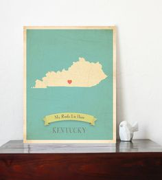 Kentucky Roots Map 11x14 Customized Print on Etsy, $30.00