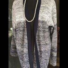 Open front Cardian M-L-XL Open front cardigan in Blk and gray and white long  and flowing. Black banded trim around neckline and down front. Very lite and is 100% acrylic. Very comfortable. JENNY Sweaters Cardigans