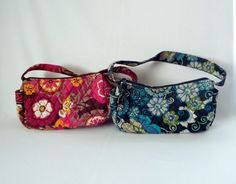 2X Vera Bradley quilted fabric floral print retired handbag purse sewing crafts #VeraBradley #Satchel