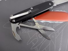 Custom Victorinox Pioneer Compact with Scissors and Pocket Clip Black Alox Mod | eBay