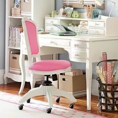 Love the office chair, love the desk AND I have a cabinet I can paint white with cute little legs like the one in the picture!