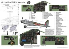 de Havilland DH98 Mosquito cockpit and aircraft profile. The profile is of B Mk XVI ML963 8K-K of 571 Squadron. This drawing gives a guide to the cockpit instruments and controls.