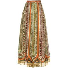 Valentino Tribal ribbon-print cotton-muslin maxi skirt ($1,010) ❤ liked on Polyvore featuring skirts, tribal maxi skirt, animal print maxi skirt, patterned maxi skirt, cotton skirts and african maxi skirts