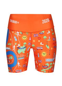 Run London With Pride In Tikiboo's Sunshine-orange Running Shorts Featuring London Icons And Marathon Landmarks. Spot The Shard, Gherkin, Cutty Sark, The Mall And Much More! Shop The Collection Online Today! London Icons, London Marathon, The Shard, Marathons, Running Shorts, Mall, Pride, Sunshine, Essentials