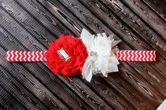 Football headband red white baby headband by AshlynsAccessoryCo