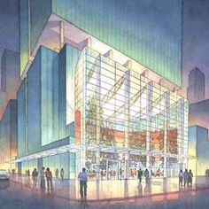 Architectural Renderings InWatercolor: Office Tower Lobby, Montreal, CA by Pickard Chilton Architects, New Haven, CT