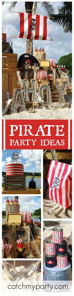 So many great ideas at this Pirate Treasure Adventure birthday party! See more party ideas at CatchMyParty.com