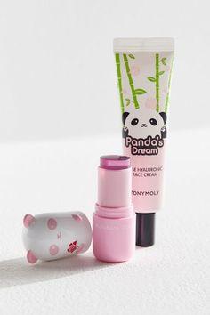 TonyMoly Panda's Dream Double Moisture Duo Set Tony Moly Panda, Panda's Dream, Raspberry Fruit, Turmeric Root, Rose Oil, Flower Oil, Cute Beauty, Cute Makeup, Aesthetic Makeup