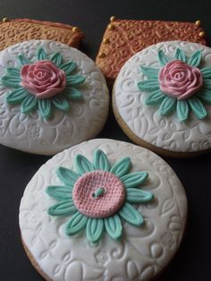 12 Handmade Edible Romantic wedding flower vintage  cake  cupcake or cookies topper love toppers. $14.50, via Etsy.
