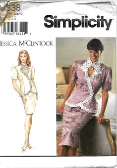 Simplicity 9338 Jessica McClintock Misses/Miss Petite Two-Piece Dress, Top With Keyhole Opening & Skirt Pattern, Size 6-10, UNCUT, UNCUT by DawnsDesignBoutique on Etsy