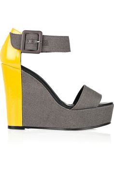PIERRE HARDY  Color-block canvas and patent-leather wedge sandals